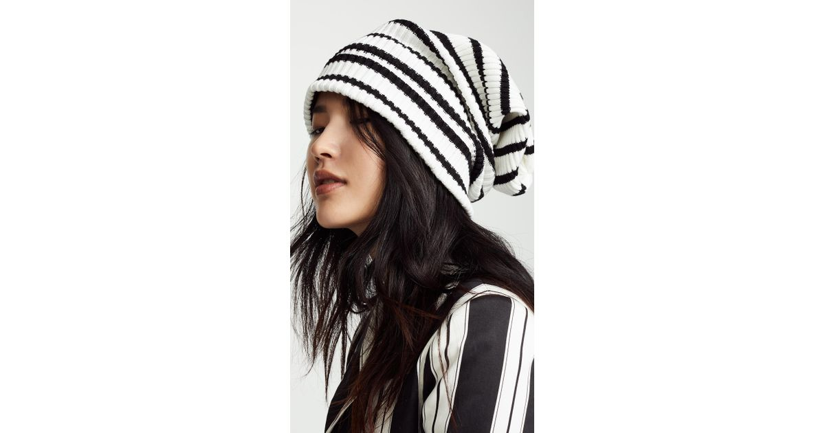a6a61b25ccb Marc Jacobs Uneven Stripe Hat in Black - Lyst