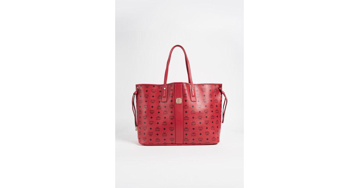 mcm large liz shopper tote in red lyst. Black Bedroom Furniture Sets. Home Design Ideas
