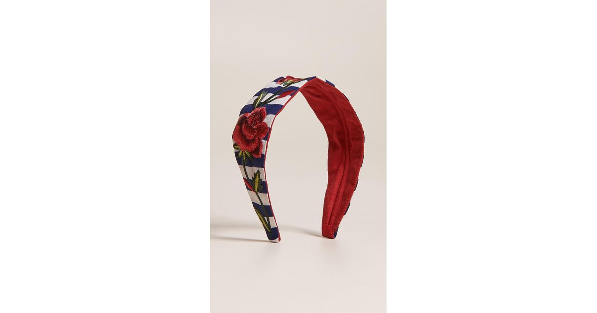 RED//WHITE STRIPED COVERED HEADBAND