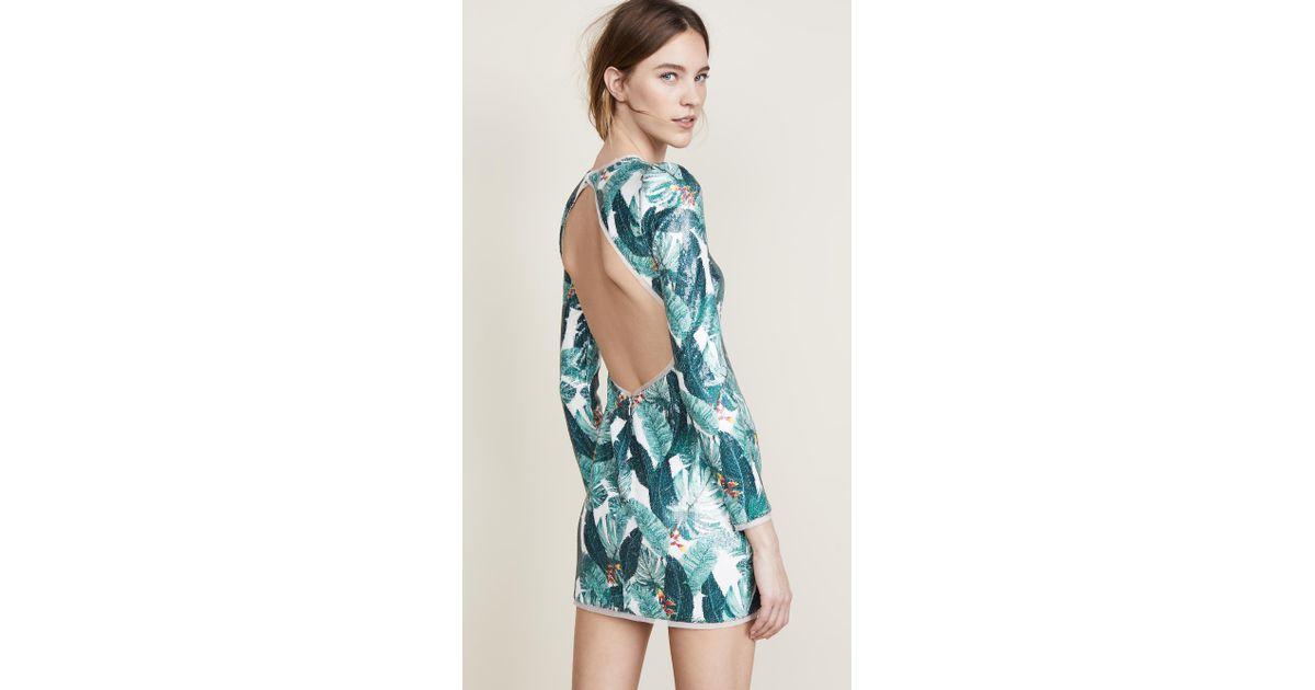 5fe853ceda12 Rachel Zoe Amelia Palm Printed Sequin Mini Dress in Blue - Lyst