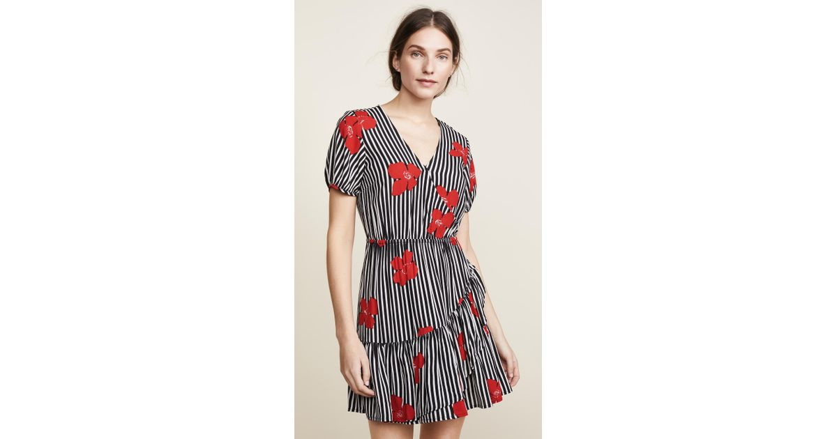 50d6599e065 Lyst - Madewell Bianca Ruffle Wrap Dress in Red