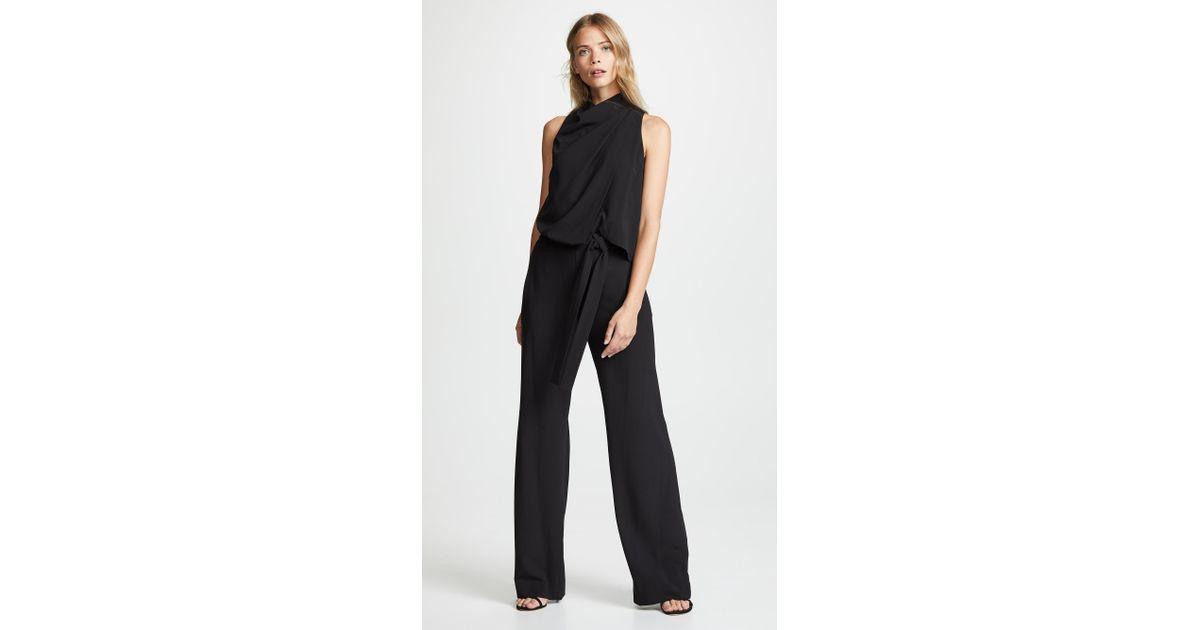ff10de5f3cb Lyst - Halston Sleeveless Drape Jumpsuit in Black