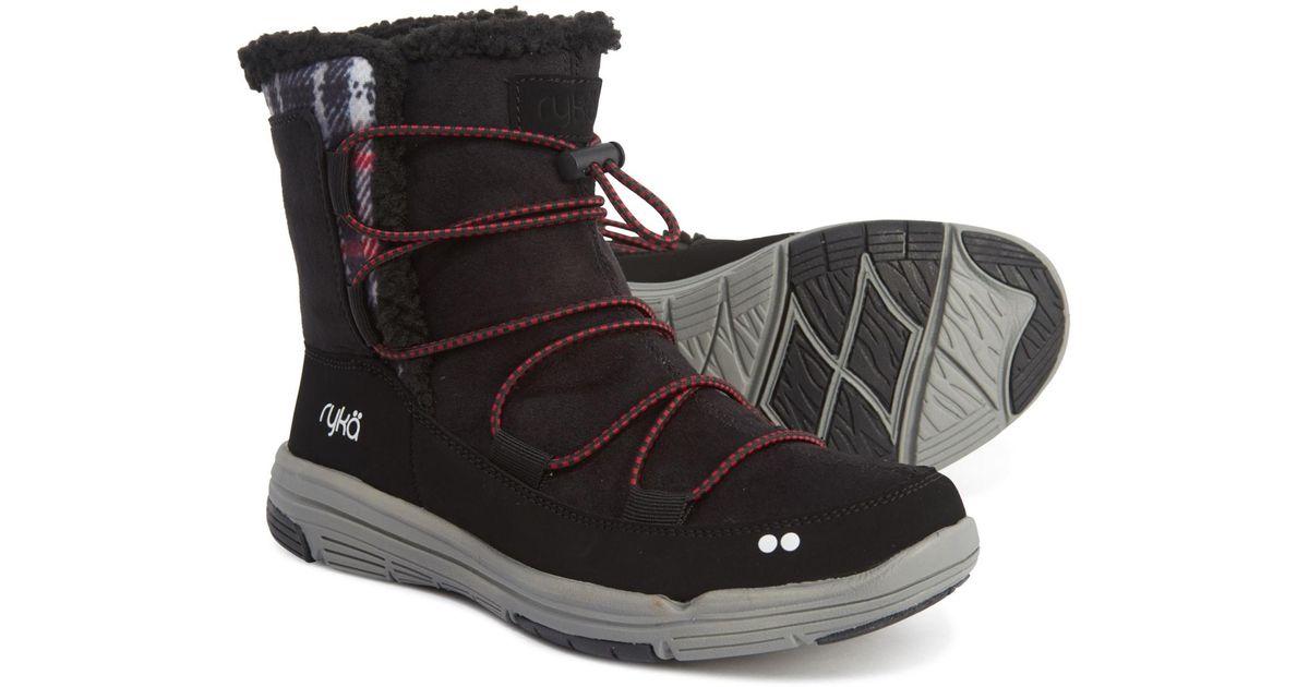 Ladies Mercury Arctic Black Purple faux fur zip up mid calf snow boots