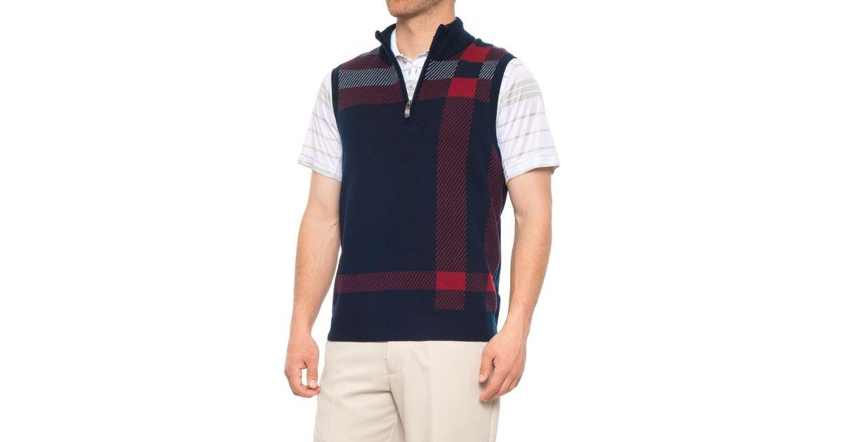 afdabca5d Bobby Jones Blue Oversized Plaid Golf Vest for men