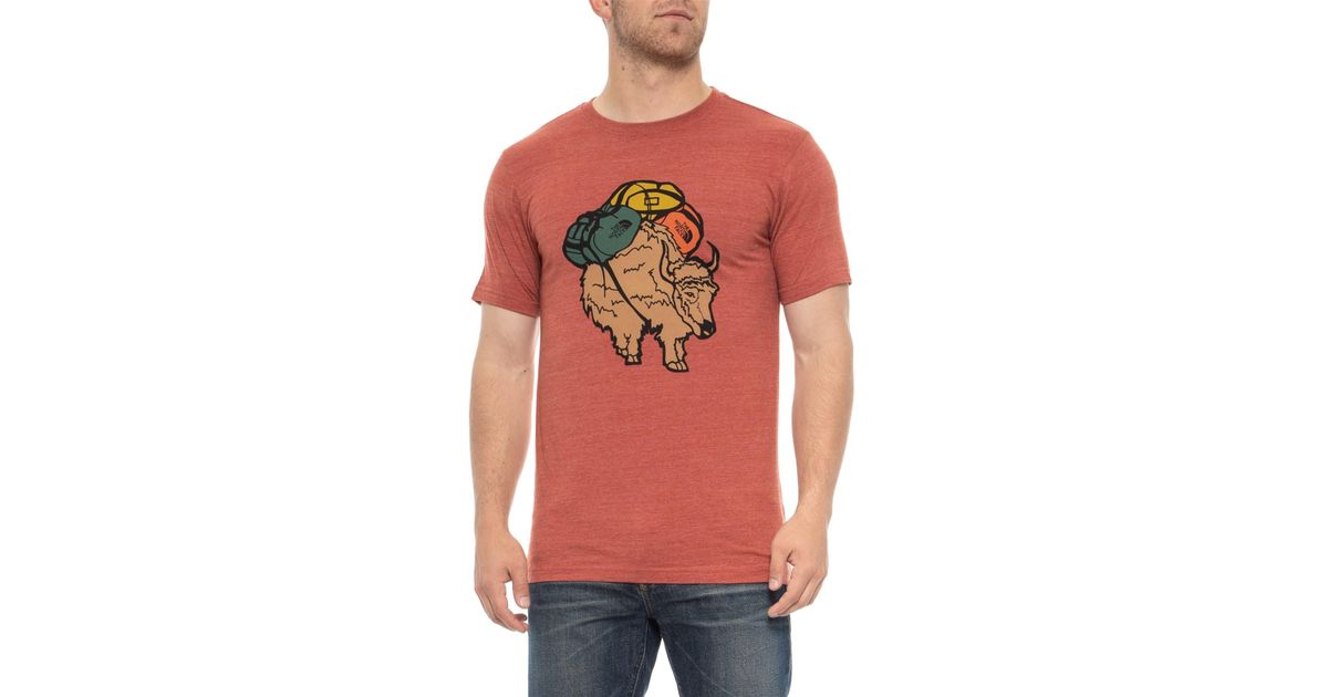 082114281 The North Face - Red Yak Tri-blend T-shirt for Men - Lyst