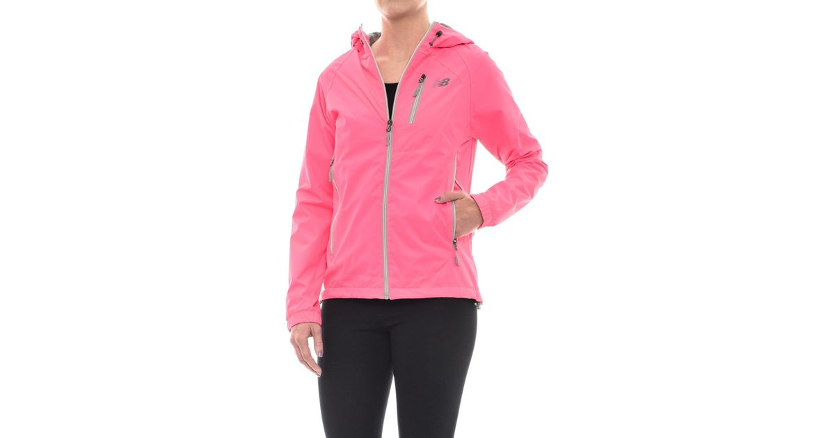 Afilar novia Mismo  New Balance Synthetic Hooded Dobby Neck Jacket (for Women) in Pink - Lyst