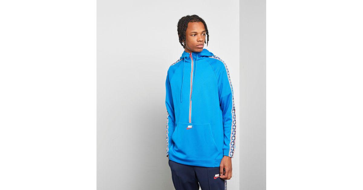 Nike Zip Taped Men For Poly Half Hoody Blue VMUSpzq