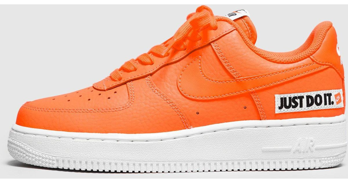 ... 1ef8f 468f6 Nike Air Force 1 just Do It Womens in Orange - Lyst arrives  ... aaba58a03e
