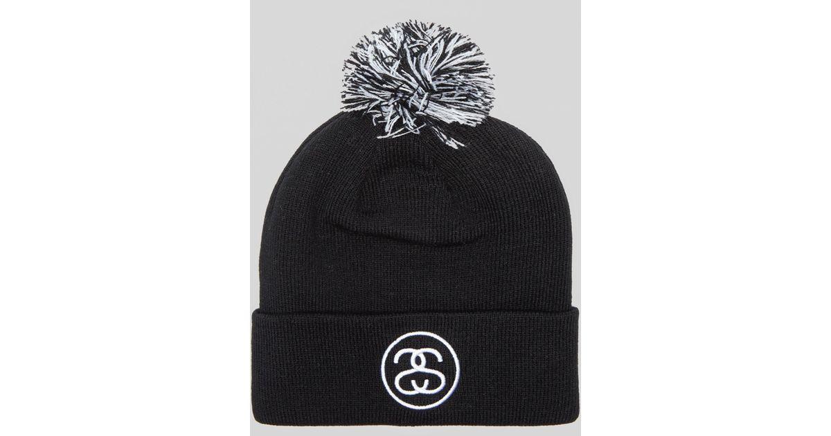 efd4dd59661 Lyst - Stussy Ss Link Pom Beanie Hat in Black