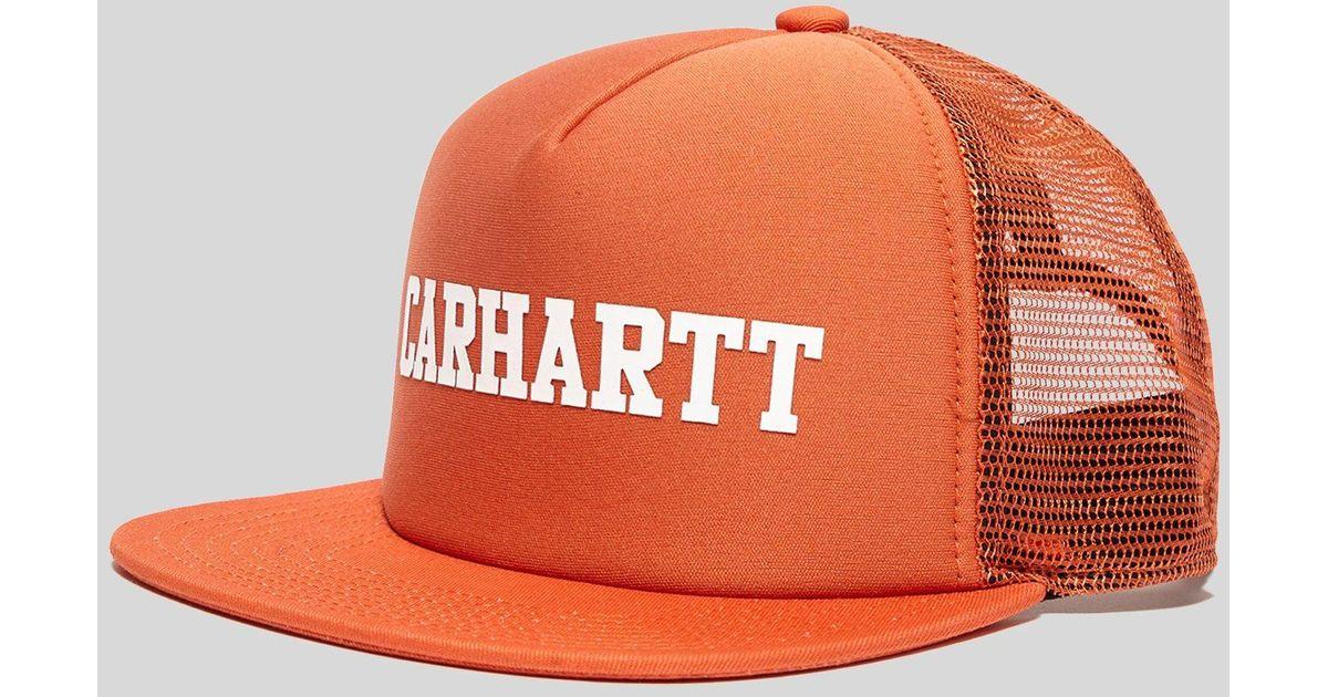 d92c7aad726a2 Carhartt WIP College Trucker Cap in Orange for Men - Lyst