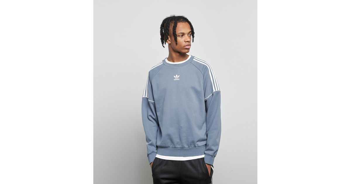 later pick up on sale Adidas Originals Blue Pipe Crew Sweatshirt for men