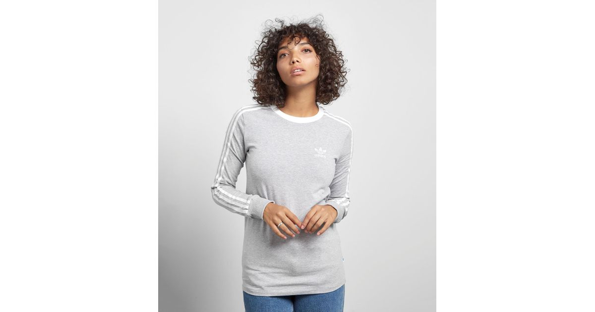 55d60672dd1b Lyst - adidas Originals 3 Stripe Long-sleeved T-shirt in Gray