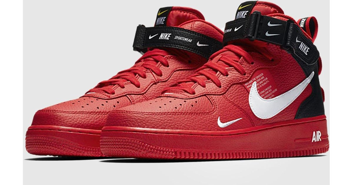 low priced 9c7d7 bfbf5 Nike Red Air Force 1 Utility Mid `07 Lv8 for men