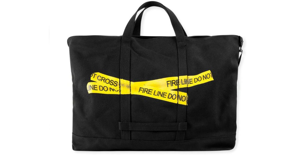 pretty nice how to orders convenience goods Off-White c/o Virgil Abloh - Black Firetape Tote Bag for Men - Lyst