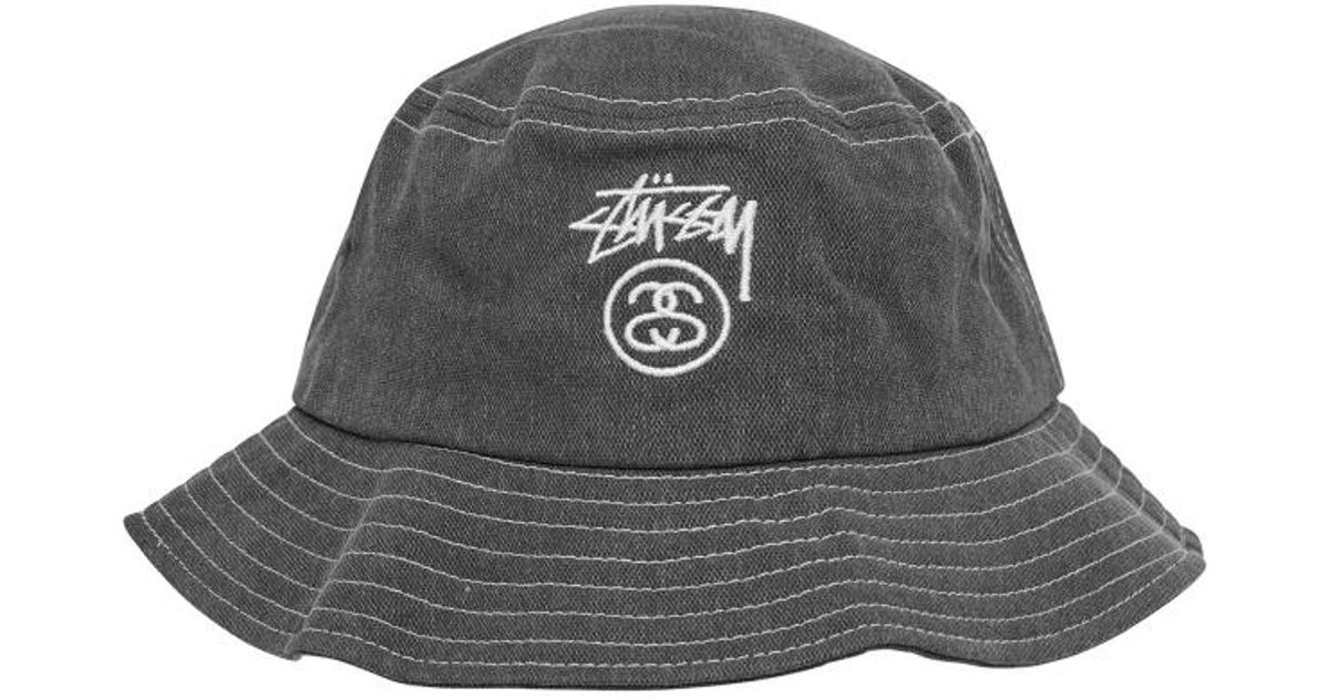 77df0d85cc0 Stussy Washed Stock Lock Bucket Hat in Gray for Men - Lyst