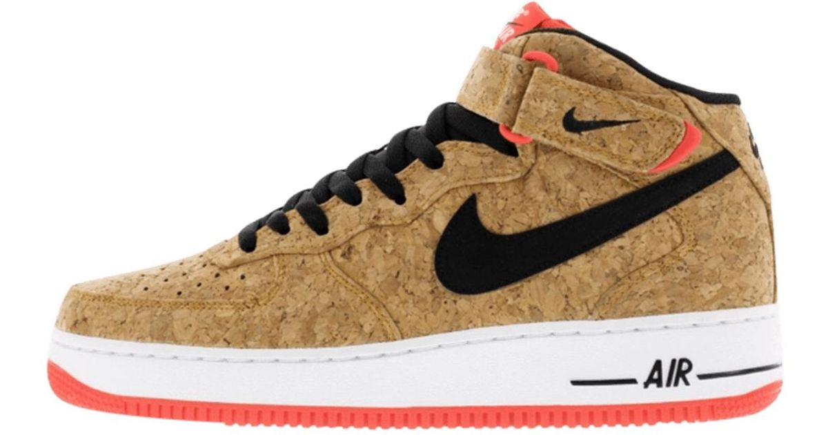 new concept 5f8f1 3182b Nike - Brown Air Force 1 Mid Cork for Men - Lyst