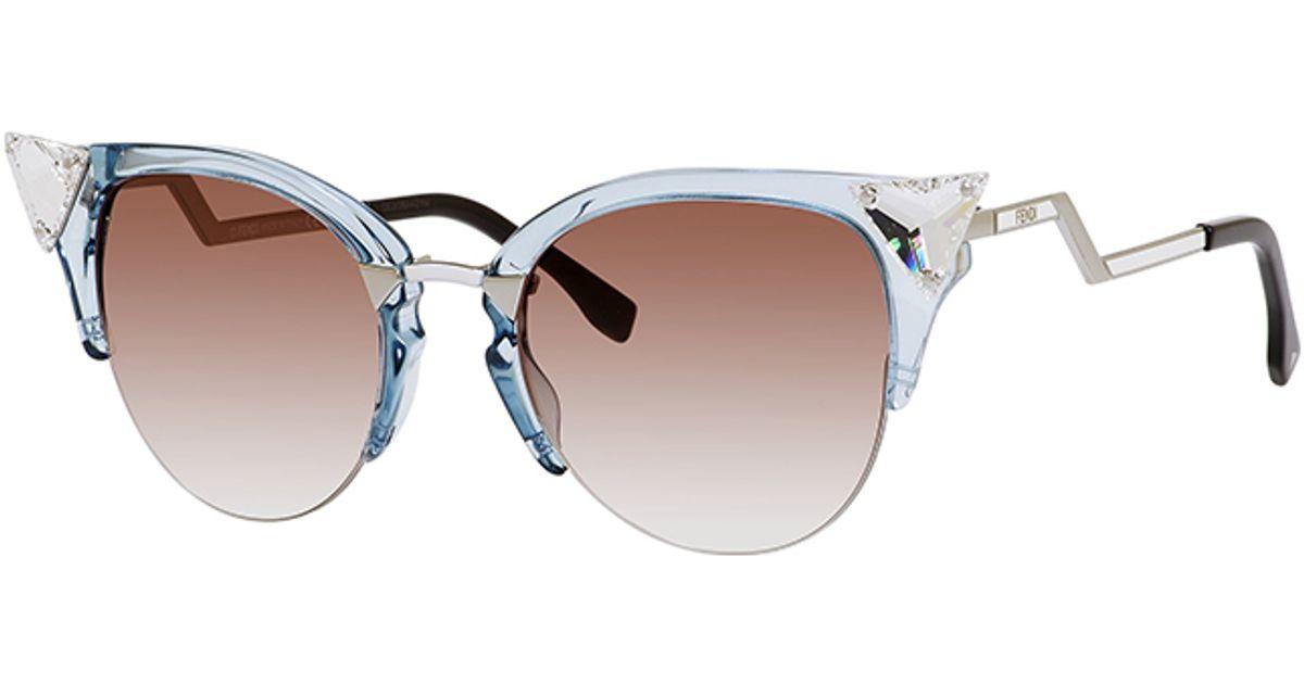 58872cc27d89a Lyst - Fendi 0041 Crystal-tipped Cat Eye Sunglasses in Blue