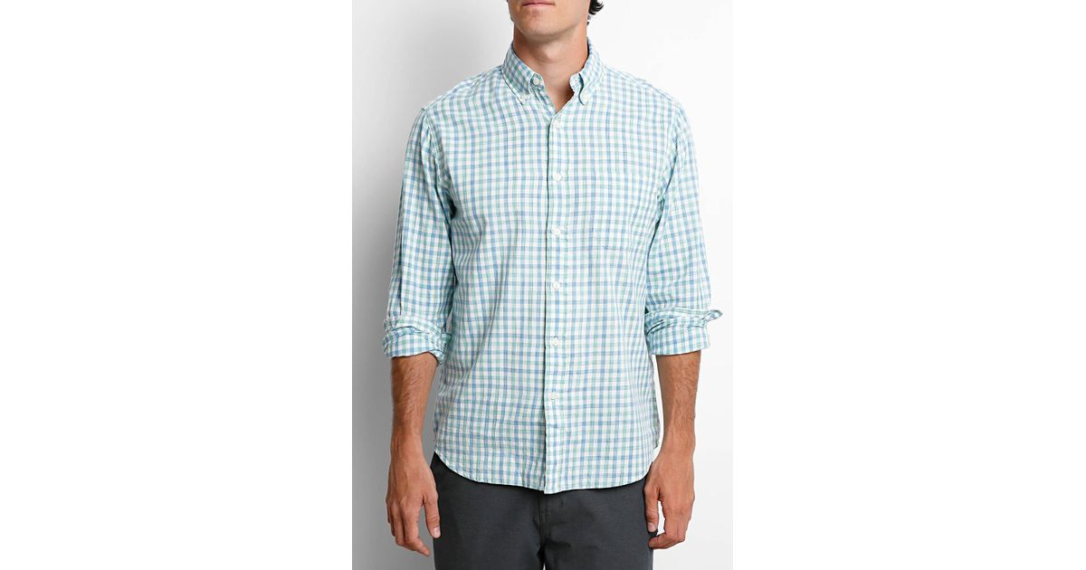dca984f7998 Lyst - Faherty Brand Blue Green Check Plaid Ventura Oxford Long Sleeve Button  Down Shirt in Blue for Men
