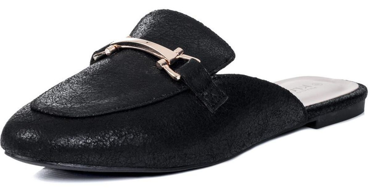 8e87cd9fd4f38 Spylovebuy Candy Flat Backless Loafer Shoes - Black Leather Style Women's  Sandals In Black in Black - Lyst
