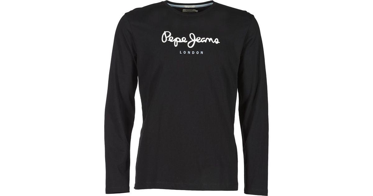 5b6fece9671 Pepe Jeans Eggo Long Men s Long Sleeve T-shirt In Black in Black for Men -  Lyst