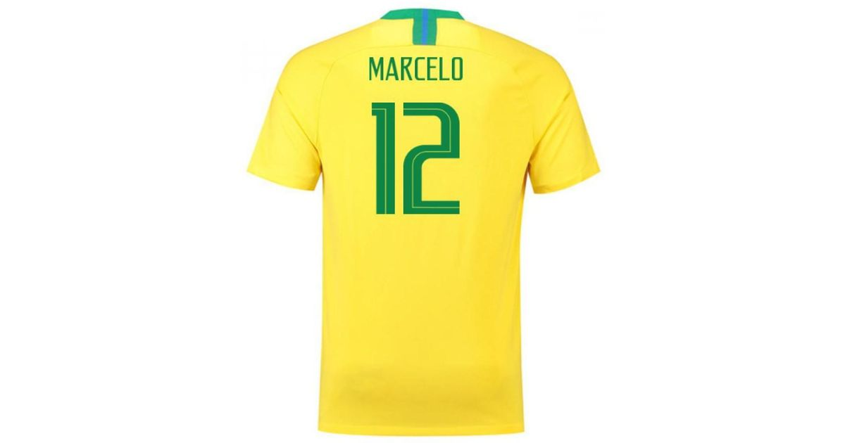 on sale a54c0 fe2b6 Nike 2018-2019 Brazil Home Football Shirt (marcelo 12) Men's T Shirt In  Yellow for men