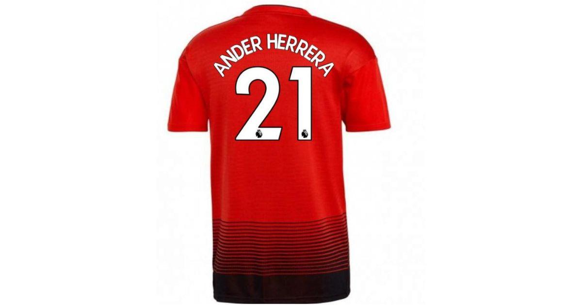 reputable site f6973 dc277 Adidas 2018-2019 Man Utd Home Football Shirt (ander Herrera 21) Women's T  Shirt In Red
