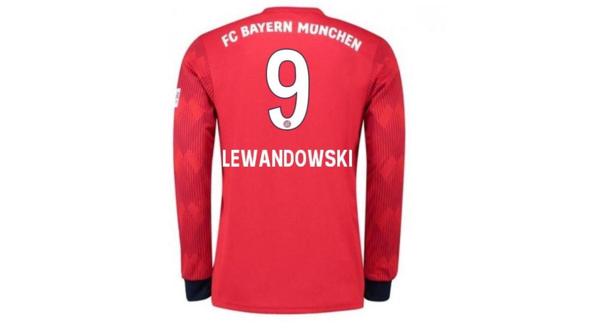 super popular 68668 3790e Adidas 2018-2019 Bayern Munich Home Long Sleeve Shirt (lewandowski 9) -  Men's In Red for men