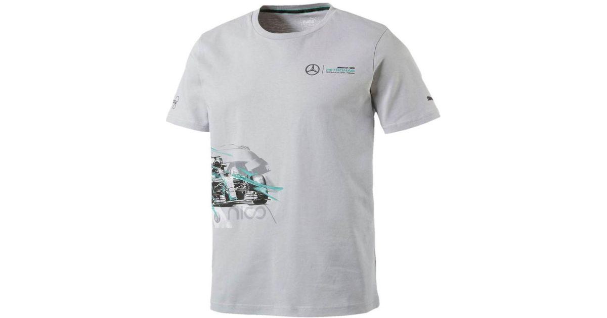 f13d9cc7 PUMA Gray 2017 Mercedes Amg Petronas Lewis Hamilton Drivers Tee Women's T  Shirt In Grey