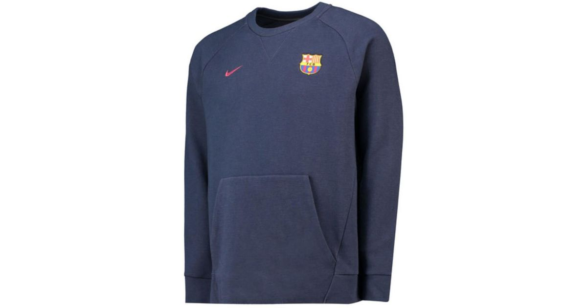 Nike 2018 2019 Barcelona Authentic Venue Crew Sweatshirt (obsidian) Men's Sweatshirt In Blue for men