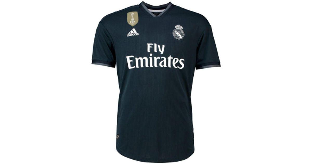 half off 9118e b7cba Adidas 2018-2019 Real Madrid Authentic Away Football Shirt Men's T Shirt In  Black for men