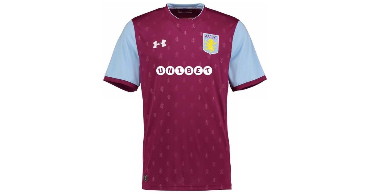 detailed look 1c190 810d5 Under Armour 2017-2018 Aston Villa Home Football Shirt Men's T Shirt In Red  for men