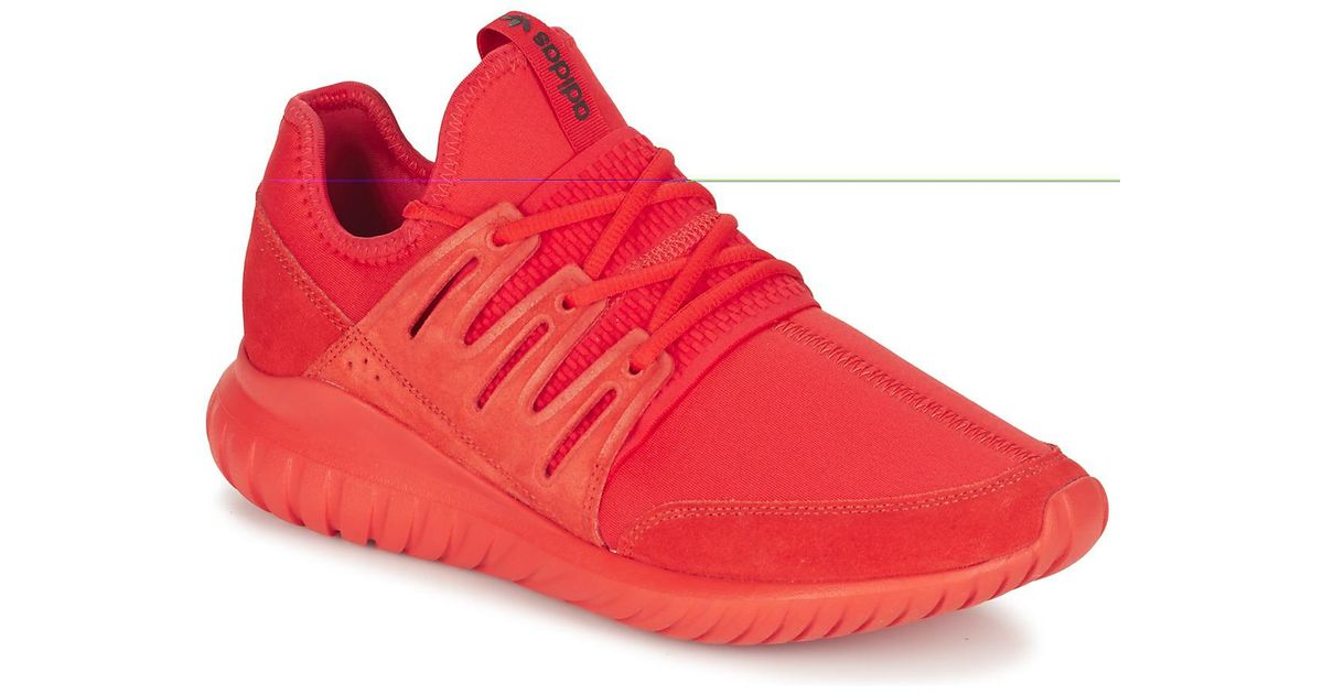 on feet images of wholesale sales online shop Adidas Tubular Radial Men's Shoes (trainers) In Red for men