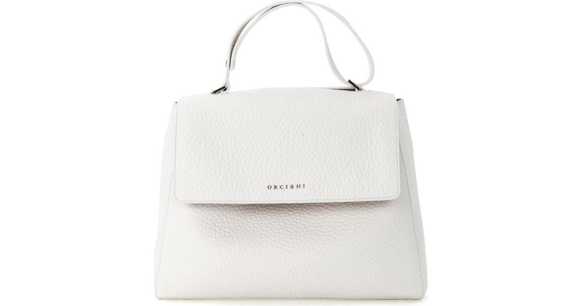 Orciani Sveva Medium White Tumbled Leather Handbag Women S Handbags In