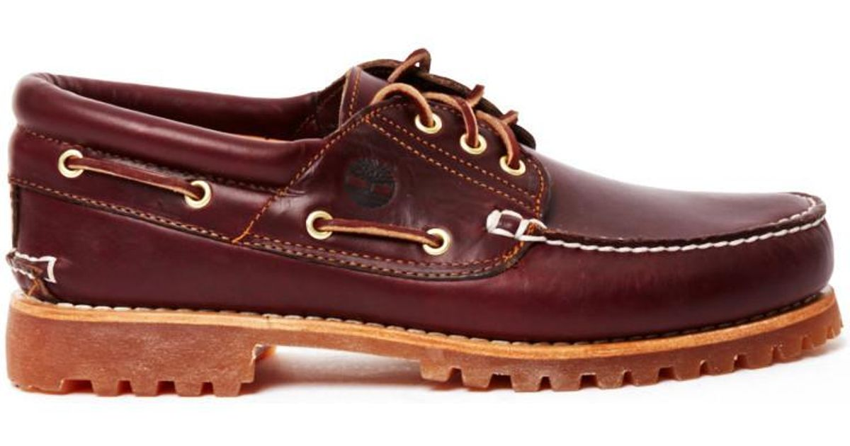 Authentics Men Burgundy Shoes Eye Lug For Men's In Timberland 3 Classic Boat Red kZOiuXPT