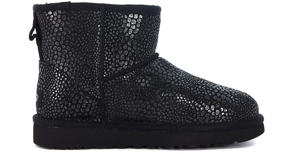 d334cc3d44e Ugg Classic Mini Glitzy Reptile Leather Effect Suede Ankle Boots Women's  Mid Boots In Black