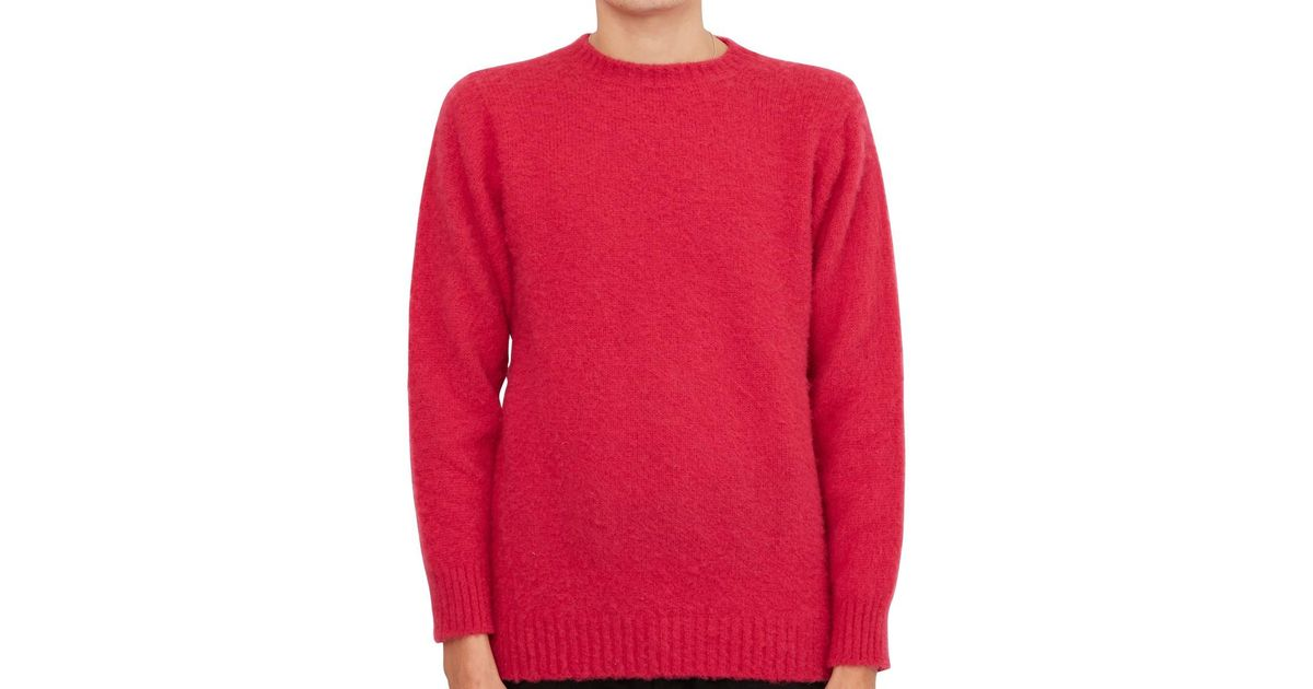 Shetland Woollen Co  Crew Neck Jumper Pink Men's Sweater In Pink for men