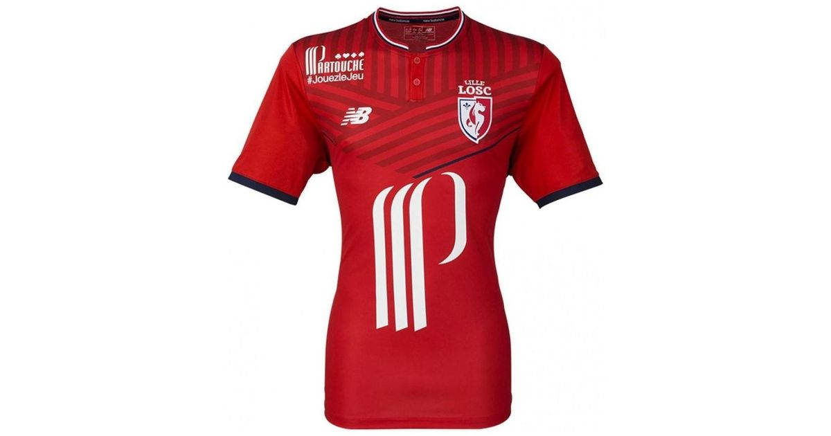 882e0618d06 New Balance 2017-2018 Lille Home Football Shirt Men's T Shirt In Red in Red  for Men - Lyst