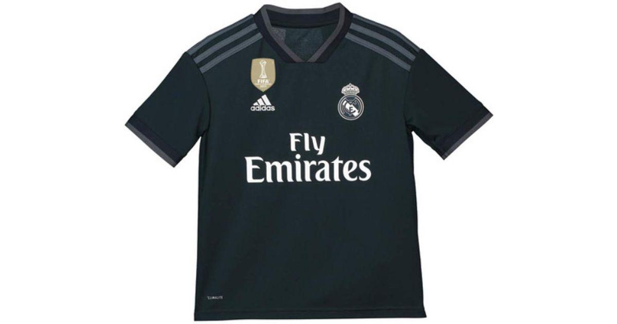 buy popular 379a7 26ec9 Adidas 2018-2019 Real Madrid Away Shirt (kids) Women's T Shirt In Black