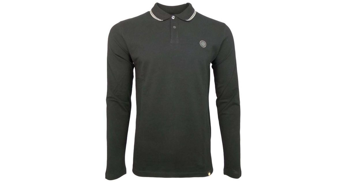 489a6959c6e Pretty Green Long Sleeve Tipped Pique Polo Men s Polo Shirt In Black in  Black for Men - Lyst