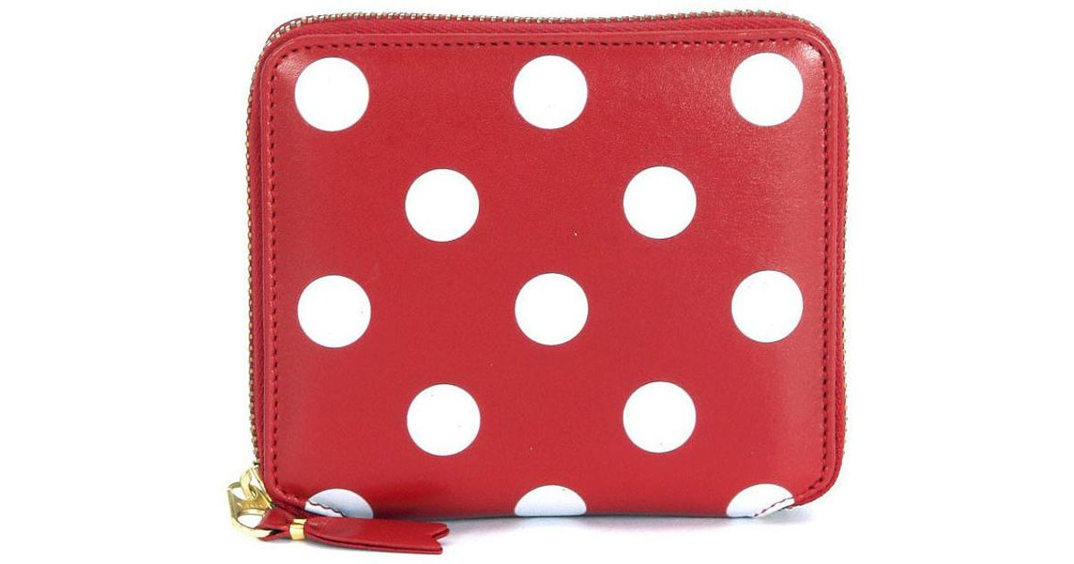 fd1d3d8be4dc Comme des Garçons Comme Des Garçons Red Leather And White Polka Dots Wallet  Women's Purse In Red