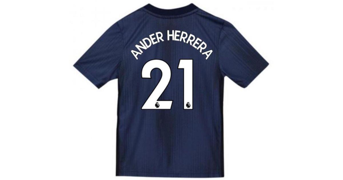 new product 61d88 fa76d Adidas 2018-2019 Man Utd Third Football Shirt (kids) (ander Herrera 21)  Men's T Shirt In Blue for men