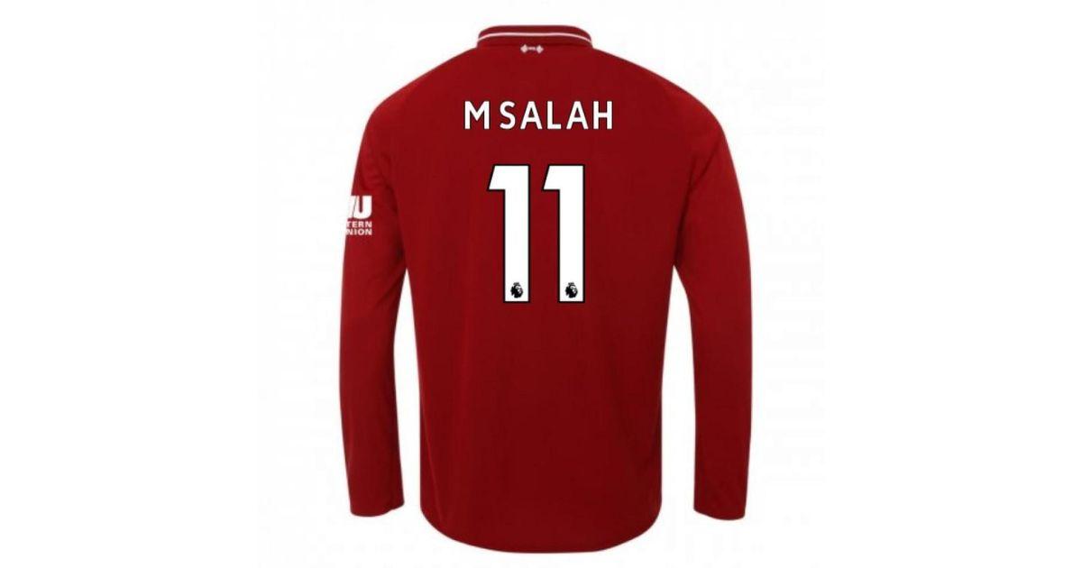 sports shoes 5f20d 06ec3 New Balance 2018-2019 Liverpool Home Long Sleeve Shirt (m Salah 11) - Kids  Men's In Red for men