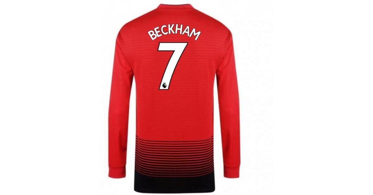 845dbae34 adidas 2018-2019 Man Utd Home Long Sleeve Shirt (beckham 7) - Kids Men s In  Red in Red for Men - Lyst
