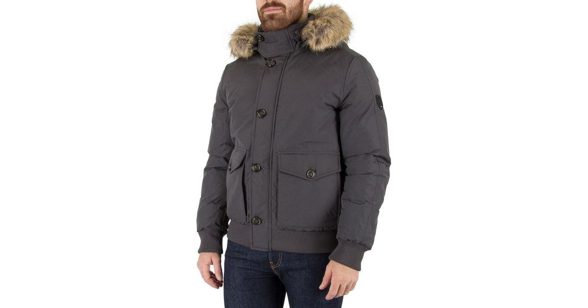 50b6e6f3a12 Tommy Hilfiger Gray Men's Hampton Down Bomber Jacket, Grey Men's Jacket In  Grey for men