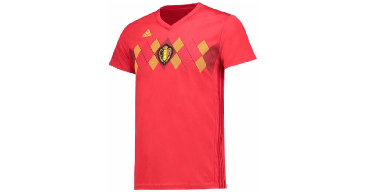 new concept 15997 5bb5a Adidas - 2018-19 Belgium Home Womens Shirt (lukaku 9) Men's T Shirt In Red  for Men - Lyst