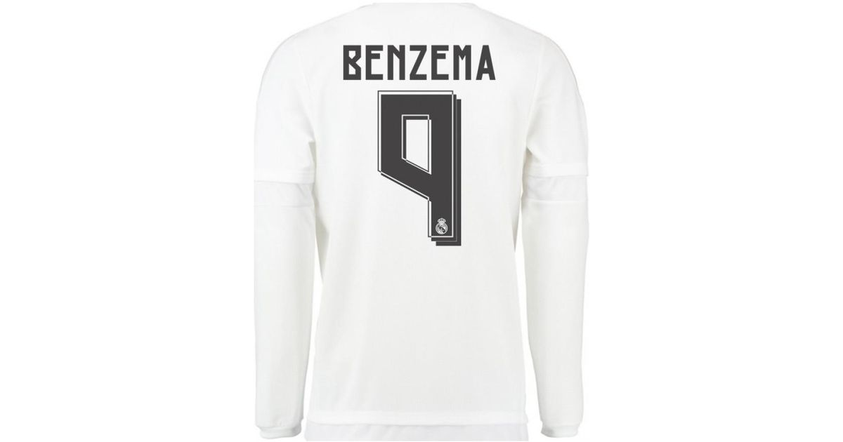 big sale 2b844 b378e Adidas - 2015-16 Real Madrid Long Sleeve Home Shirt (benzema 9) - Kids  Boys's In White for Men - Lyst