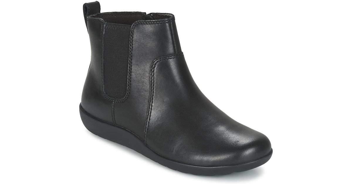CLARKS WOMEN'S MEDORA Grace Black Leather Ankle Boots