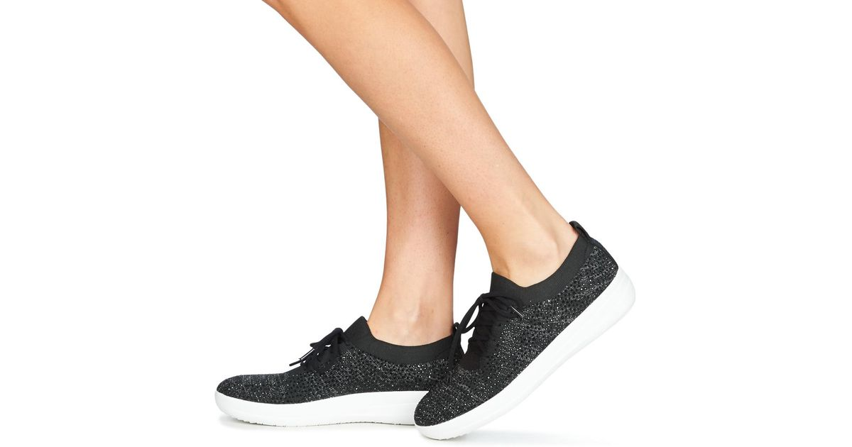 79a51e2adc78 Fitflop F Sporty Uberknit Sneakers Crystal Women s Shoes (trainers) In Black  in Black - Lyst