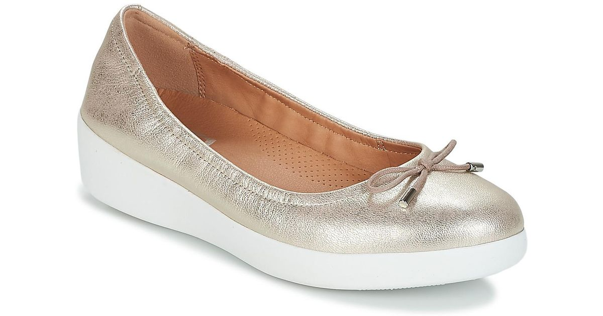 6a63bad31b24 Fitflop Superbendy Ballerinas Women s Shoes (pumps   Ballerinas) In Silver  in Metallic - Save 18% - Lyst