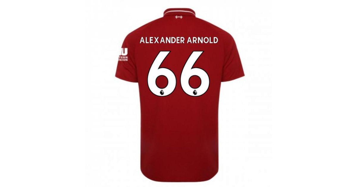 new concept c7c9d b9fe2 New Balance 2018-2019 Liverpool Home Football Shirt (alexander Arnold 66)  Men's T Shirt In Red for men